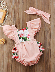 cheap -Baby Girls' Active Floral Print Short Sleeves Romper Blushing Pink