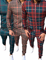 cheap -Men's 2 Piece Full Zip Sweatsuit Gentleman Tracksuit Street Casual 2pcs Long Sleeve Thermal Warm Breathable Soft Gym Workout Running Jogging Training Exercise Sportswear Plaid Checkered Normal Jacket