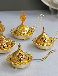 cheap -simple and modern style golden metal incense burner middle east arab hand-held incense burner candle holder dual-use one delivery