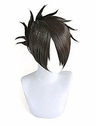 cheap -halloweencostumes anime the promised neverland figure ray cosplay wig cosplay costume hair, short straight black cosplay wig men boys' party wigs