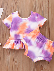 cheap -Baby Girls' Basic Print Short Sleeve Short Clothing Set Rainbow