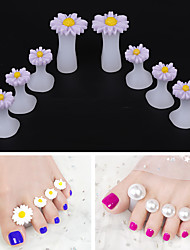 cheap -8pcs/Set Soft Silicone Toe Separator Foot Finger Divider Form Manicure Pedicure Care Nail Art Tool Flower Holder Accessory