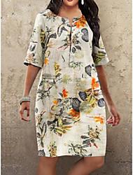 cheap -Women's Plus Size Shift Dress Knee Length Dress Fuchsia Orange Half Sleeve Floral Print Fall Summer Round Neck Hot Vintage 2021 S M L XL XXL 3XL 4XL