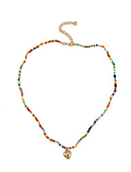 cheap -Women's Beaded Necklace Necklace Heart Fashion European Boho Resin Alloy Rainbow 48 cm Necklace Jewelry 1pc For