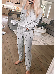 cheap -Women's Loungewear Sets Home Party Street Daily Print Printing Star Cotton Casual everyday Soft Sport Pant Fall Winter Scoop Neck Long Sleeve