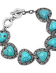 """cheap -rosemarie collections women's cowgirl chic concho design western turquoise semi precious howlite stone toggle clasp bracelet, 7.75""""-8.5"""" (heart stone)"""
