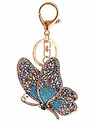 cheap -junderjdj crystal rhinestone butterfly keychain, ladies car key ring, handbag, gift bag, key chain decoration,purse charms – girly backpack charm (blue)