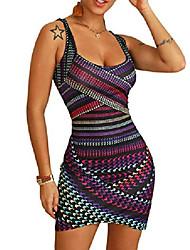 cheap -misomee women multicolor striped print mini bodycon dress party club night out dress m multicolor