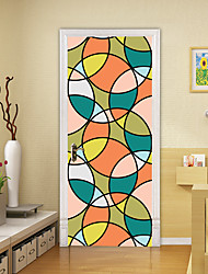 """cheap -2pcs Self-adhesive Creative Round Mosaic Door Stickers For Living Room Diy Decorative Home Waterproof Wall Stickers 30.3""""x78.7""""(77x200cm), 2 PCS Set"""