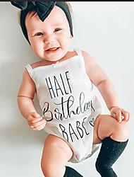 cheap -Baby Girls' Active Print Print Sleeveless Romper White