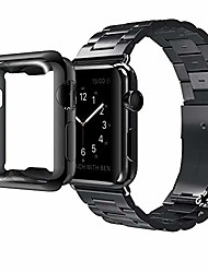 cheap -Smart watch band compatible with apple watch band series 6 /se/ 5 /4/3/2/1 stainless steel bracelet with adapter + tpu soft case cover for iwatch 38/40/42/44 mm, black 40mm