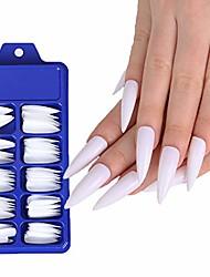 cheap -brinote extar long press on nails stiletto colorful false nails 100pcs fake nails tips full cover acrylic false nail for women and girls (white)