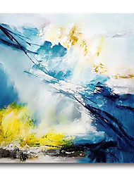 cheap -Oil Painting Handmade Hand Painted Wall Art Abstract Modern Blue Yellow Home Decoration Dcor Stretched Frame Ready to Hang