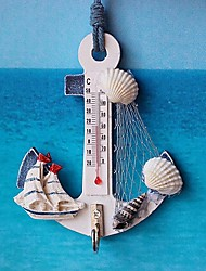 cheap -Thermometer Anchor Shape Wall Hook Wood Nautical Conch Home Hanging Crafts Art Wall Hanger Hook Decorations Mediterranean Style