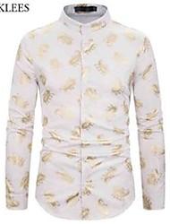 cheap -stylish paisley gold print party shirt men brand banded collar slim fit dress shirts mens nightclub weeding dinner chemise 210522