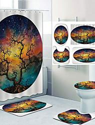 cheap -Artistic Scenery Pattern Printing Bathroom Shower Curtain Leisure Toilet Four-Piece Design