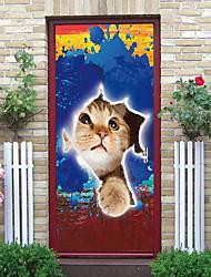 "cheap -2pcs Self-adhesive Creative Broken Window Cat Door Stickers For Living Room Diy Decorative Home Waterproof Wall Stickers 30.3""x78.7""(77x200cm), 2 PCS Set"