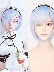 cheap -halloweencostumes Blue Short Bob Rem Cosplay Wig Synthetic Anime Hair Party Wig Re Zero Starting Life in Another World