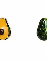 cheap -green fruit avocado stud earrings for women girl - small silver needle hypoallergenic earrings for girls women kids gifts
