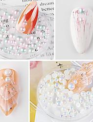 cheap -6 Pcs Nail Art Pearl Half-round Mermaid Pearl Nail Art AB Rhinestone Pearl Nail Art Accessories Nail Decorations