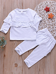cheap -Baby Girls' Basic Solid Colored Ruffle Long Sleeve Regular Clothing Set White