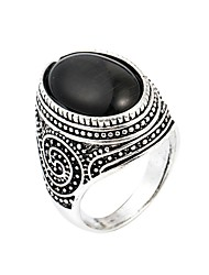 cheap -mens rings with black onyx stone in 925 sterling silver with vintage eastern motifs men's jewelry (6.5)
