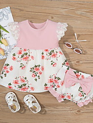 cheap -2 Pieces Baby Girls' Basic Floral Bow Print Short Sleeve Regular Shorts Sets Clothing Set Blushing Pink