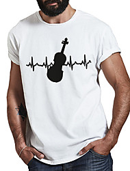 cheap -Men's Unisex Tee T shirt Hot Stamping Graphic Prints Guitar Plus Size Print Short Sleeve Casual Tops Cotton Basic Fashion Designer Big and Tall White