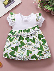 cheap -Baby Girls' Active Basic Print Print Short Sleeve Knee-length Dress Green