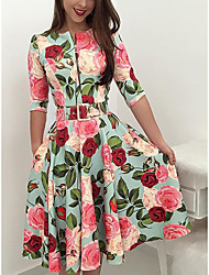 cheap -Women's Swing Dress Midi Dress Light Green Half Sleeve Flower Zipper Spring Summer High Neck Elegant Party 2021 S M L XL