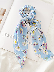 cheap -Kids Baby Girls' Cross-Border Floral Large Intestine Hair Tie Ribbon Three-State Jewelry New Long Head Strap Ponytail Two-In-One Hair Strap