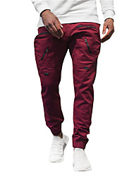 cheap -Men's Sporty Casual / Sporty Streetwear Quick Dry Breathable Soft Pants Tactical Cargo Trousers Daily Sports Pants Solid Color Full Length Drawstring Elastic Waist Wine Grey Khaki Black