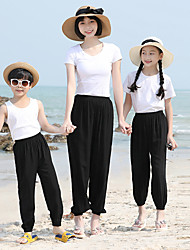 cheap -Pants Family Look Cotton Other Daily Print Gray Khaki White Maxi Active Matching Outfits