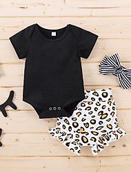 cheap -Baby Girls' Basic Print Ruffle Print Short Sleeve Regular Clothing Set Black