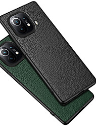 cheap -Genuine Leather Phone Case For Xiaomi Mi 11 Pro Mi 11 Ultra Redmi K40 Shockproof Dustproof Frosted Solid Colored Camera Protection Back Cover