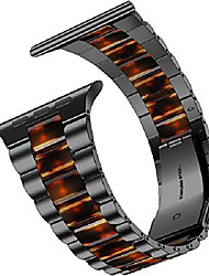 cheap -Smart watch band compatible with apple watch strap 40mm 38mm, resin stainless steel metal link bracelets for iwatch se series 6 5 4 3 2 1 - black + dark amber