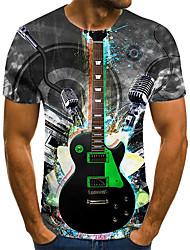 cheap -Men's Unisex Tee T shirt 3D Print Graphic Prints Guitar Plus Size Print Short Sleeve Casual Tops Basic Fashion Designer Big and Tall Gray
