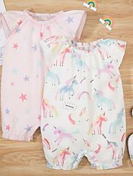 cheap -Baby Girls' Basic Geometric Animal Print Short Sleeves Romper White Blushing Pink