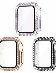 cheap -Smart watch Case 3 pack compatible for apple watch case 40mm with screen protector, bling cover double diamonds rhinestone bumper protective frame for iwatch series 6/5/4/se girl women 40mm