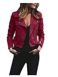 cheap -women's short, slim, soft, zip up faux leather jacket, faux suede, moto biker coat wine red s