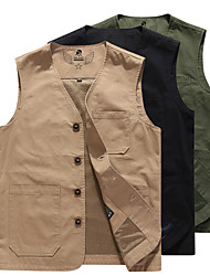 cheap -Men's Hiking Vest / Gilet Fishing Vest Work Vest Jacket Top Outdoor Quick Dry Lightweight Breathable Sweat wicking Autumn / Fall Spring Summer ArmyGreen khaki off-white Hunting Fishing Climbing