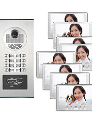 cheap -7 Inch TFT LCD Color Monitor Night Vision Camera For Multi Apartment Video Doorbell 8 Family Intercom System with ID Card Unlock