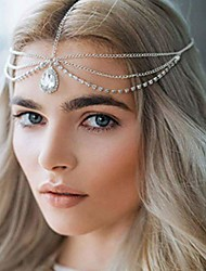 cheap -crysly boho layered crystal piece chain silver headpiece wedding festival head chain jewelry for women and girls