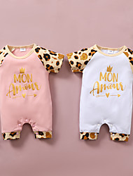 cheap -Baby Girls' Basic Leopard Print Short Sleeves Romper White Blushing Pink