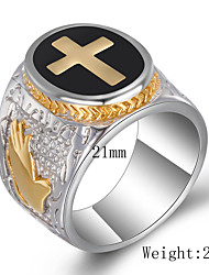 cheap -retro titanium steel cross ring, stainless steel god hand ring, casting punk style ring