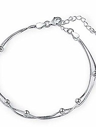 cheap -layered bean star bracelets for women teen girls,925 sterling silver plated adjustable bracelet gifts for mother girls (layered bean)