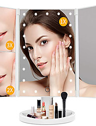 cheap -led Tri-folding Mirror With Light To Enlarge Luminous Makeup Mirror Dressing Desktop Three-sided Folding LED Makeup Mirror