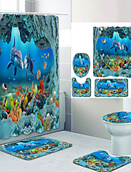 cheap -Underwater World Dolphin Digital Printing Four-piece Set Shower Curtains and Hooks Modern Polyester Machine Made Waterproof Bathroom