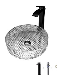 cheap -Modern Light Luxury Grey Cylindered Glass Slaver with Faucet Slaver BW20-026