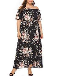 cheap -Women's Plus Size Dress Swing Dress Maxi long Dress Short Sleeve Floral One Shoulder Fashion Spring Summer Navy Blushing Pink Black XL XXL XXXL 4XL 5XL